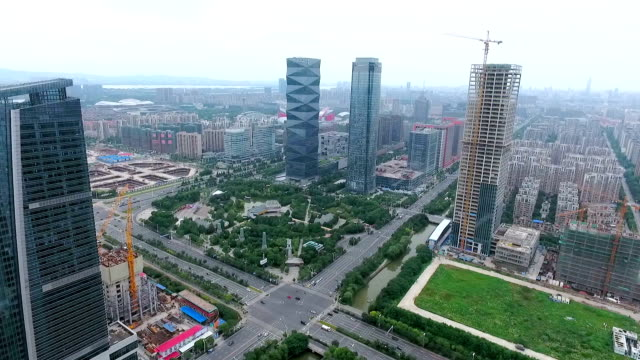 Aerial view of the building and the city of nanjing,China video