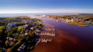 Aerial view of the city harbor in Parnu video