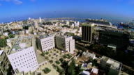Aerial view of the city port Haifa video