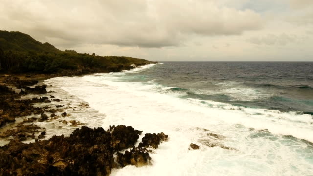 Aerial view of the cliffs and wave. Philippines,Siargao video