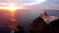 Aerial view of the cliffs of Cape St. Vincent before sunset. Portugal. Region Algarve video