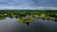 Aerial view of the Dunguaire castle In West Ireland video