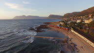 Aerial view of the famous St James beach Cape Town,South Africa video
