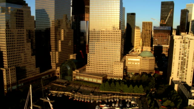 Aerial view of the Financial District, NY, USA video