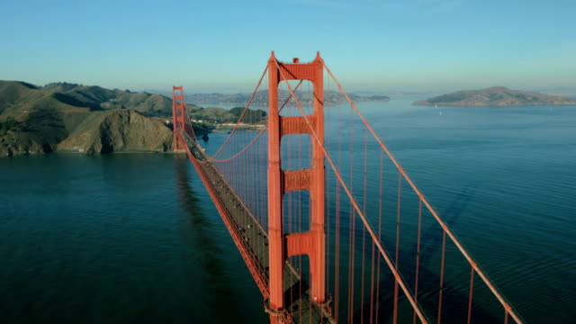 Aerial view of the Golden Gate Bridge, USA video