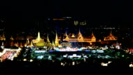 Aerial View Of The Grand Palace At The Emerald Buddha Temple In The Night, Wat Phra Kaew video