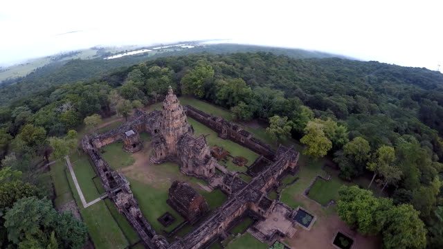 Aerial view of The Khmer temple at Phanom Rung Historical Park video