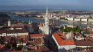 Aerial view of the Matthias Church in Budapest video