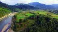 Aerial view of the mountain river in Carpathians video