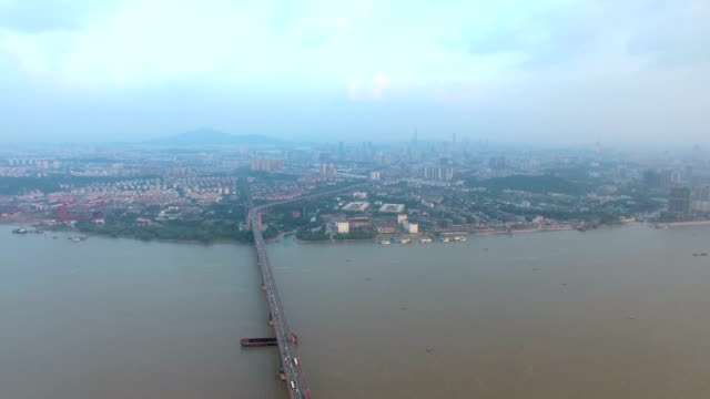 Aerial view of The Nanjing Yangtze River Bridge,china video