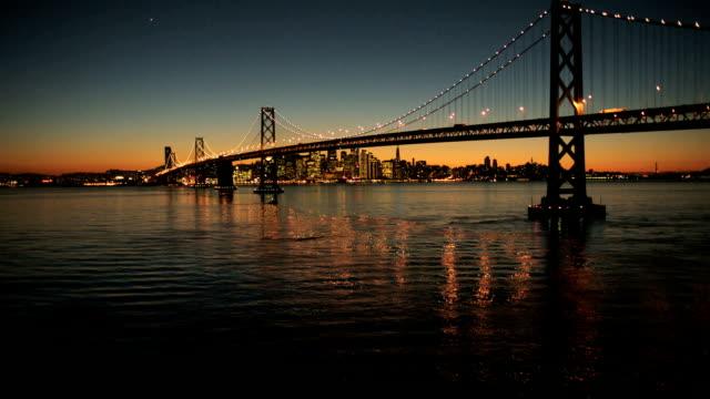 Aerial view of the Oakland Bay bridge, San Francisco video