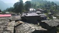 Aerial view of the old Manali village in Kullu valley, Himachal Pradesh, India. video