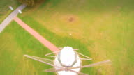 Aerial view of the propeller in windmill video