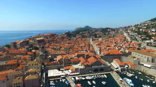Aerial view of the red roofs of Old Town of Dubrovnik video