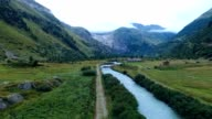 Aerial view of the Rhone near Gletsch, just below the Rhone glacier and Furka pass in Switzerland video