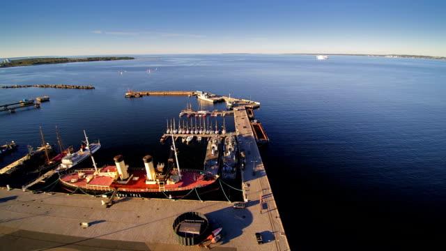 Aerial view of the seaplane harbor in Kopli video