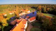 Aerial view of the Vihula village in Estonia video