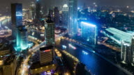 T/L CU HA ZI Aerial View of Tianjin Business District at Night / Tianjin, China video