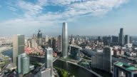 T/L WS HA Aerial View of Tianjin Skyline at Daytime with Dramatic Sky video