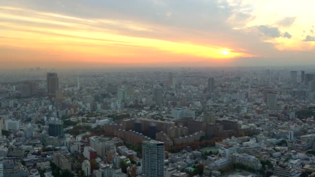 Aerial view of Tokyo cityscape at sunset video