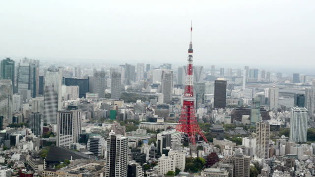 Aerial View of Tokyo Tower video