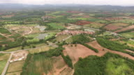 Aerial view of toscan style house valley, khao yai, Thailand video