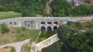 Aerial view of Tounj Bridge, Croatia video
