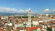 Aerial view of tower of Cathedral of Saint Domnius in Split video