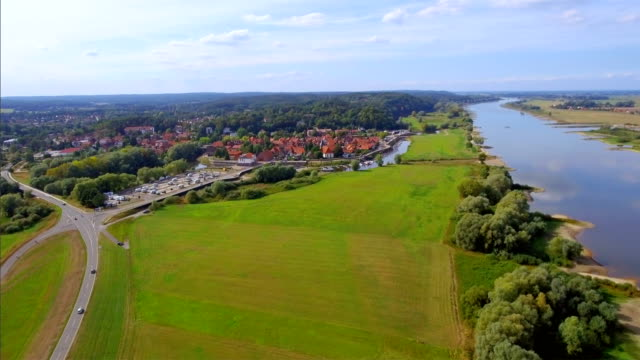 Aerial View of town Hitzacker and River Elbe in Lower Saxony, Germany video