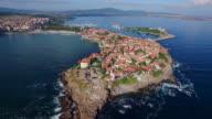 4K Aerial view of town of Sozopol, Bulgaria video