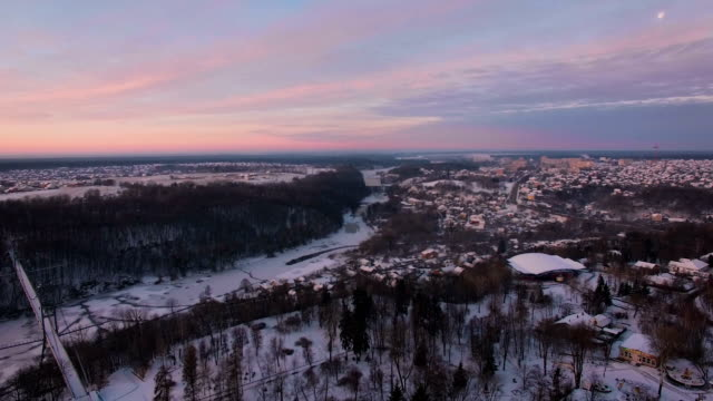 Aerial view of town shot from a drone video