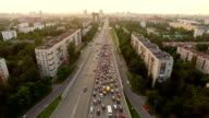 aerial view of traffic congestion in the city video