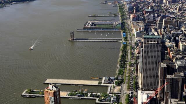 Aerial view of traffic in Lower Manhattan video