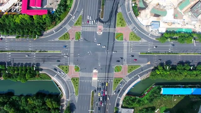 Aerial view of traffic intersection in nanjing,china.top view video