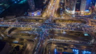 T/L Aerial View of Traffic Jam at Night, with Rush Hour Traffic / Beijing, China video