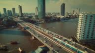 Aerial view of Traffic on Bridge,Bangkok Thailand video