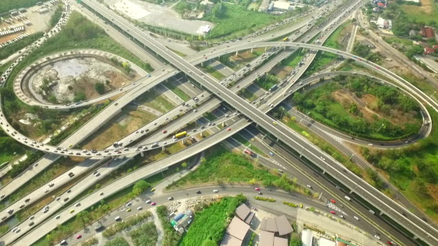 Aerial view of Traffic on Express way in Bangkok ,Thailand video