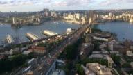 Aerial view of traffic on Sydney Harbor Bridge video