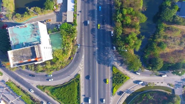 Aerial view of Traffic on the street in downtown at morning, top view. video