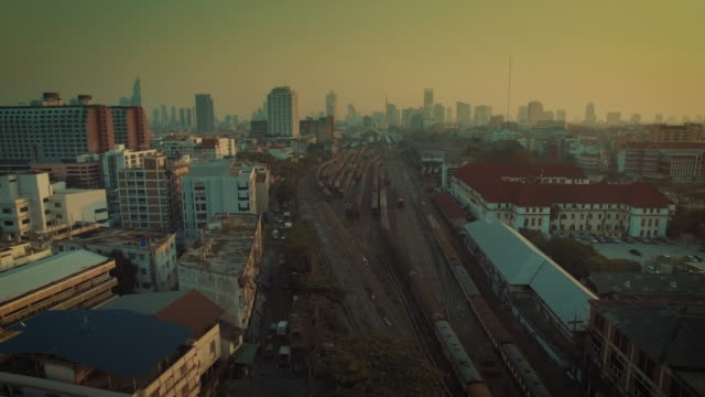 Aerial view of Train Arriving to Hua Lamphong Main Station video