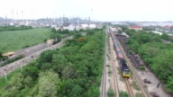 Aerial view of train with container video
