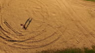 Aerial view of training a Wing Chun  on a sand between men video