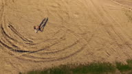 Aerial view of training a Wing Chun  on a sand in warm day video