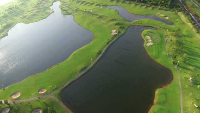 Aerial view of tree lined Golf Course video