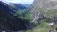 Aerial view of Trollstigen pass in Norway video