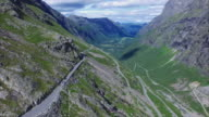 Aerial view of Trollstigen road in Norway video