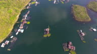 Aerial view of Village and Fish farm among lake and mountain video