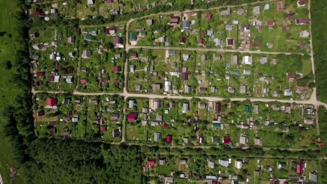 Aerial view of village houses in Russia video