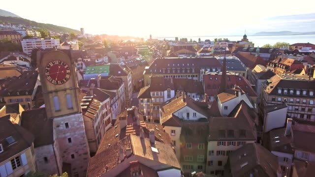 aerial view of Vintage Bell-Tower in Neuchatel, Switzerland video