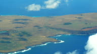 Aerial view of Volcano Rano Raraku on Easter Island video